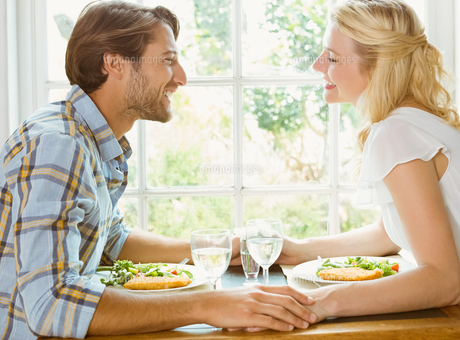 Happy couple enjoying a meal togetherの写真素材 [FYI00002276]