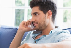Attractive man making a call on the couchの写真素材 [FYI00002292]