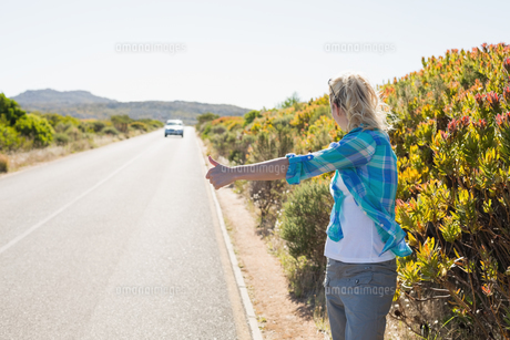 Attractive blonde hitch hiking on rural roadの素材 [FYI00002392]