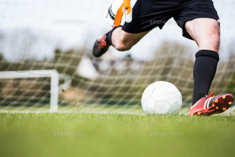 Goalkeeper kicking ball away from goalの写真素材 [FYI00002464]