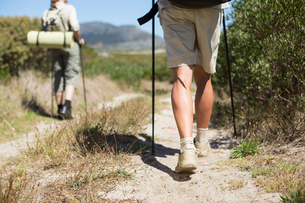 Hiking couple walking on country trailの写真素材 [FYI00002482]
