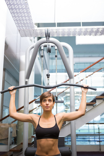 Fit brunette using weights machine for armsの写真素材 [FYI00002529]