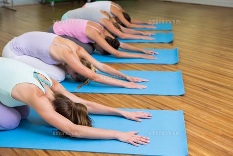 Yoga class in childs pose in fitness studioの写真素材 [FYI00002568]