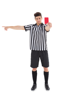 Stern referee showing red cardの写真素材 [FYI00002617]