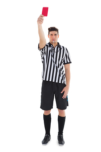 Stern referee showing red cardの写真素材 [FYI00002626]