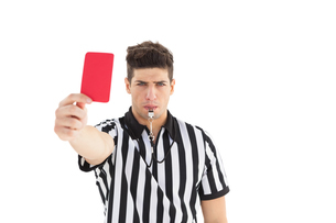 Stern referee showing red cardの素材 [FYI00002629]