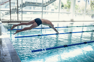 Swimmer diving into the pool at leisure centerの写真素材 [FYI00002910]