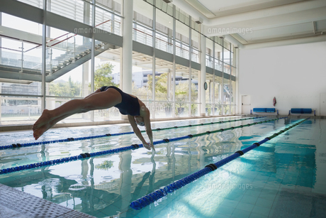 Fit swimmer diving into the pool at leisure centerの写真素材 [FYI00002927]