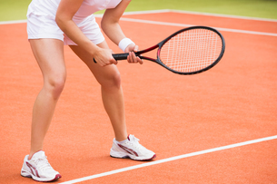 Tennis player ready to playの写真素材 [FYI00002929]