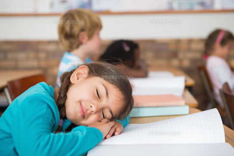 Sleeping pupil sitting at her deskの写真素材 [FYI00003155]