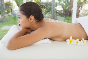 Beautiful brunette relaxing on massage table with salt scrub on backの写真素材 [FYI00003234]
