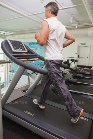 Fit man working out on treadmillの写真素材 [FYI00003316]