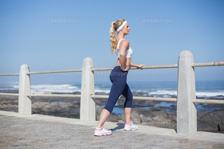 Fit woman stretching on the pierの素材 [FYI00003346]