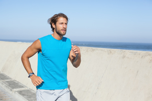 Fit man jogging on promenadeの素材 [FYI00003399]