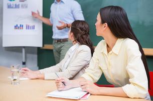 Business team listening to man presenting flowchartの写真素材 [FYI00003431]