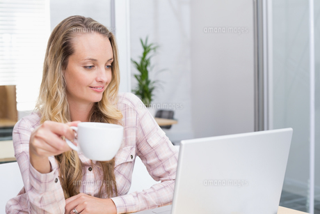 Cheerful businesswoman using her notebook holding a cupの写真素材 [FYI00003433]