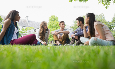 Happy students sitting outside on campusの写真素材 [FYI00003492]