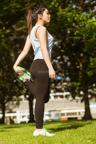 Healthy woman stretching leg in parkの写真素材 [FYI00003549]