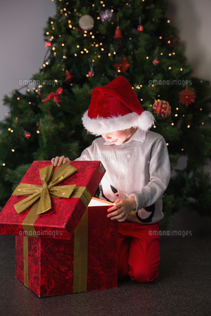 Child opening his christmas presentの素材 [FYI00003551]