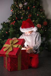 Child opening his christmas presentの写真素材 [FYI00003551]