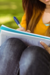 Mid section of student doing homework in parkの写真素材 [FYI00003566]