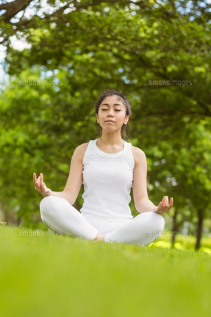 Healthy woman sitting in lotus pose at parkの写真素材 [FYI00003567]
