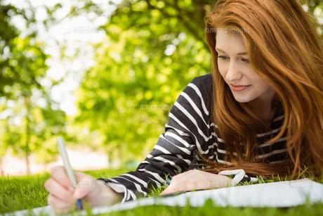 Female student doing homework in parkの写真素材 [FYI00003568]