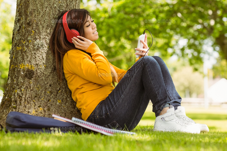 Relaxed woman enjoying music in parkの写真素材 [FYI00003573]