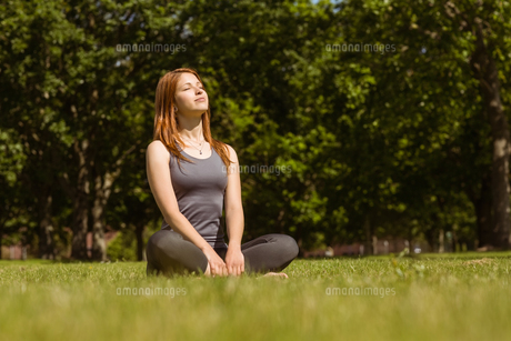 Portrait of a pretty redhead sitting carefreeの写真素材 [FYI00003579]