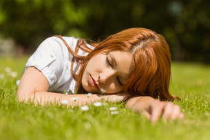 Pretty redhead napping on grassの写真素材 [FYI00003587]