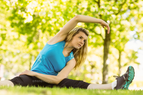 Fit blonde stretching in the parkの写真素材 [FYI00003621]