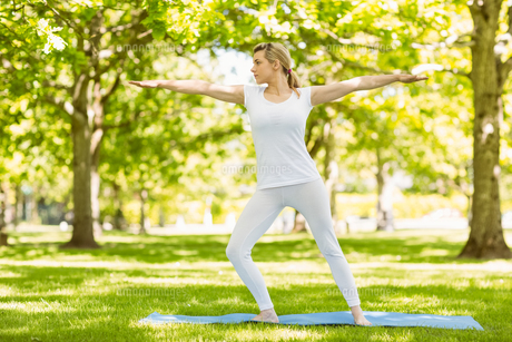 Peaceful blonde doing yoga in the parkの写真素材 [FYI00003632]