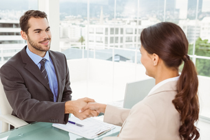Two executives shaking hands in officeの素材 [FYI00003751]