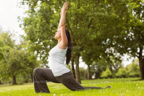 Brunette in warrior pose on grassの写真素材 [FYI00003810]