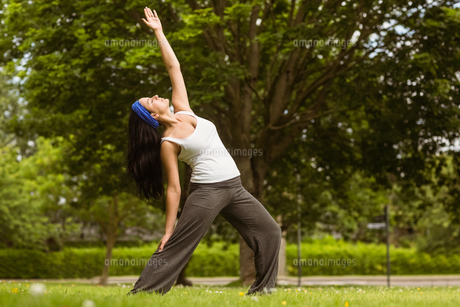 Peaceful brunette doing yoga in the parkの写真素材 [FYI00003819]