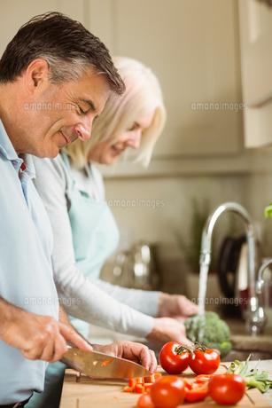 Happy mature couple preparing vegetablesの写真素材 [FYI00003832]