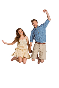 Cheerful young couple jumpingの写真素材 [FYI00003889]