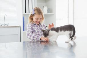 Happy owner petting her cute kittenの写真素材 [FYI00003958]