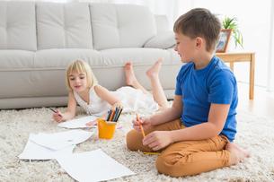 Smiling siblings drawing lying on the floorの写真素材 [FYI00004026]