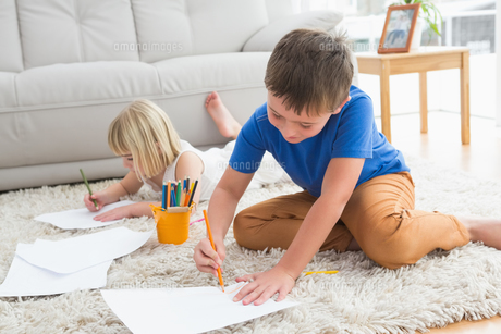 Smiling siblings drawing lying on the floorの写真素材 [FYI00004027]
