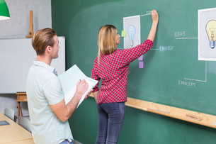 Creative business people at work against blackboardの写真素材 [FYI00004040]