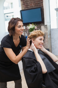 Hairdresser cutting a customers hairの写真素材 [FYI00004189]