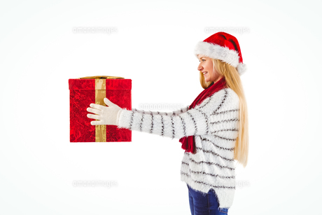 Festive blonde holding a giftの写真素材 [FYI00004280]