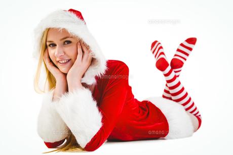 Festive blonde smiling at cameraの写真素材 [FYI00004300]