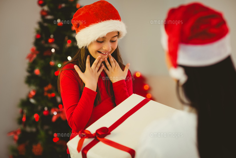 Mother giving her daughter a christmas presentの写真素材 [FYI00004312]
