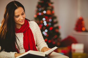 Pretty brunette reading on couch at christmasの写真素材 [FYI00004314]