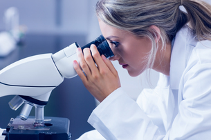 Science student looking through microscope in the labの写真素材 [FYI00004368]