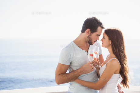 Cute couple toasting with champagneの写真素材 [FYI00004393]