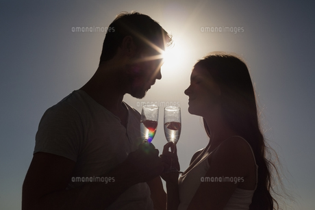 Cute couple toasting with champagneの写真素材 [FYI00004431]