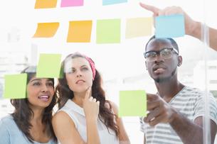 Focused teamwork reading sticky notesの素材 [FYI00004483]